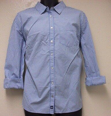 Jcp Nwot   Blue   White Gingham Check Plaid Long Sleeve Cotton Shirt Sz  Xl
