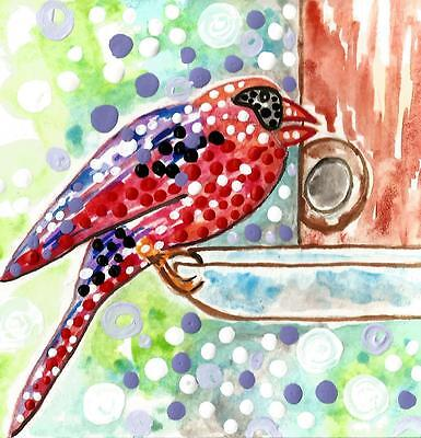 CARDINAL BIRD at BIRDFEEDER painting wild red birds nature art watercolor ebay
