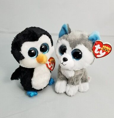 Ty Beanie Boos Waddles The Penguin   Slush The Husky Dog With Red Tags New
