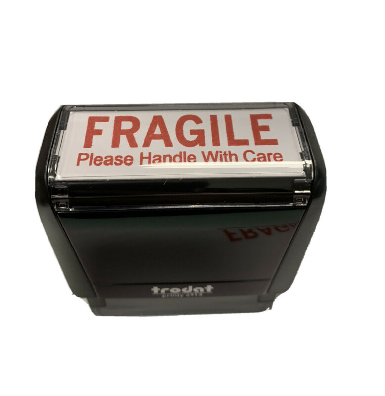 "FRAGILE stamp on the TRODAT 4913 Self-inking  Stamp with RED INK 2 "" X 11/16 """