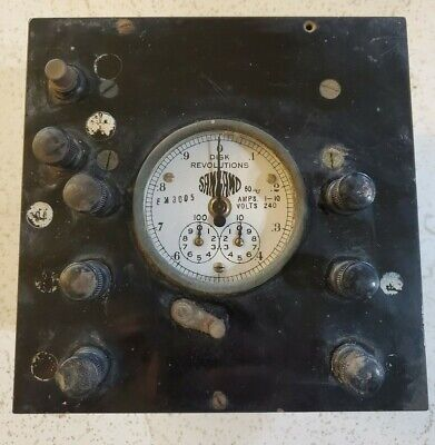 Antique Sangamo Em3005 Disk Revolutions Volts Amps Amperes Extremely Rare Old