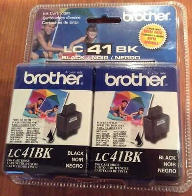 Brother Lc41bk2pks Black Ink (Brother Black Ink Cartridge  2 Pack LC41BK2PKS  Retail Packaging LC41 NEW )