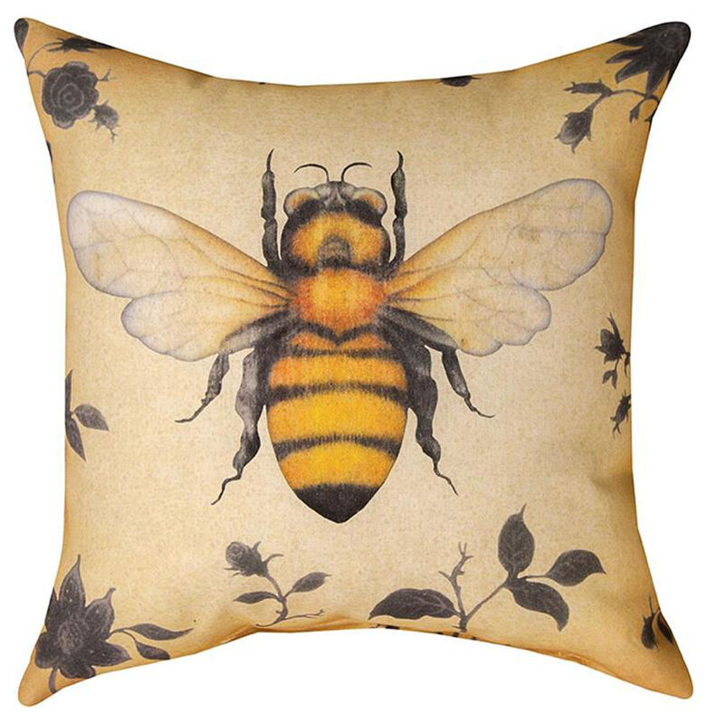 """PILLOWS - BEE INDOOR OUTDOOR PILLOW - 18"""" SQUARE"""
