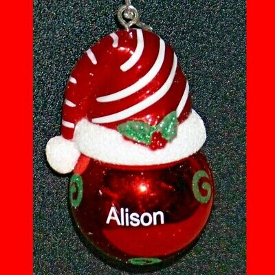 Small Santa Hats (Christmas Ornament Ball Ganz Red White Santa Hat Cap Personalized Choose Name)