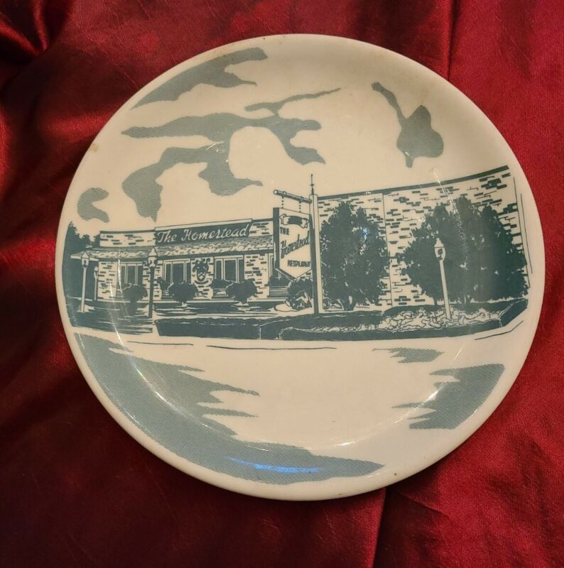 """The Homestead Restaurant Maywood Illinois 8.25"""" Lunch Plate by Syracuse China"""