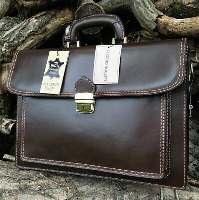 HAND MADE ITALIAN BROWN LEATHER BRIEFCASE LAPTOP SATCHEL MESSENGER OFFICE -