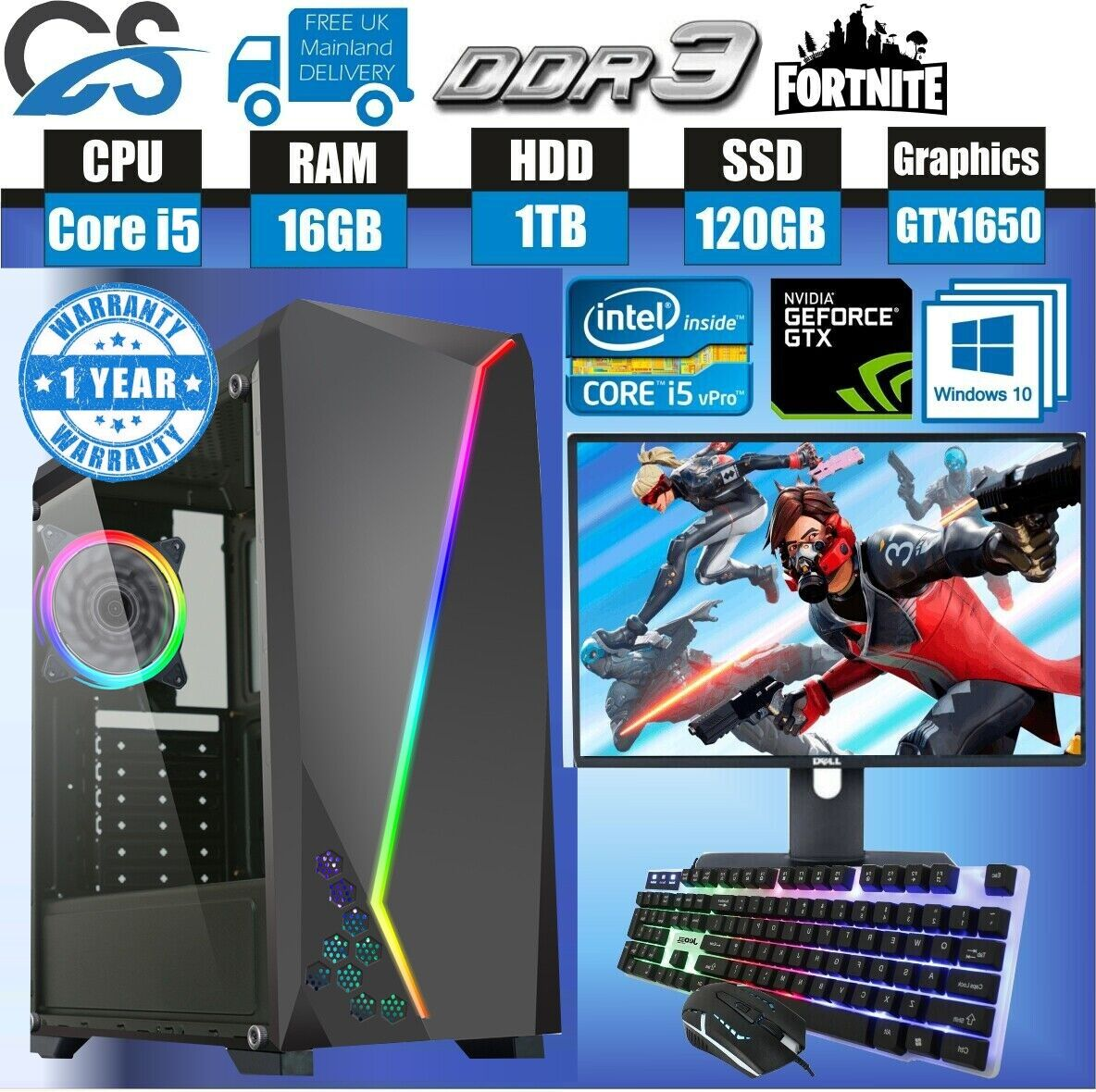Computer Games - Fast Gaming PC Computer Bundle Intel Quad Core i5 16GB 1TB 128GB 4GB GTX1650 W10
