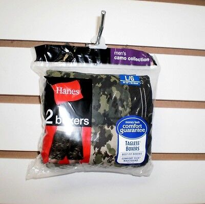 Brand  New Men's Hanes 2 Pack Cotton Boxers  Tagless Camo  Large  ( 36  -  38 )