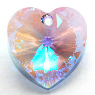SWAROVSKI HEART PENDANT 6228, CUSTOM COATED GLACIAL LIGHT SAPPHIRE BLUE, 28 MM