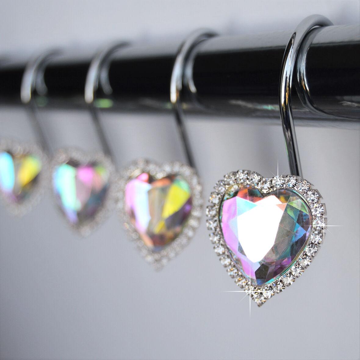 Rhinestone shower curtain hooks - Shower Curtain Hooks Rings Heart Rhinestone Bling Love