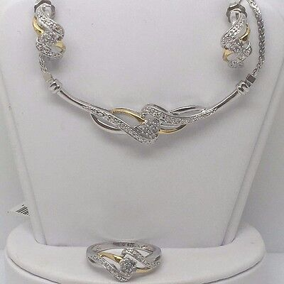 10K YELLOW GOLD OVER STERLING SILVER 1/4TCW DIAMOND NECKLACE, EARRINGS & RING