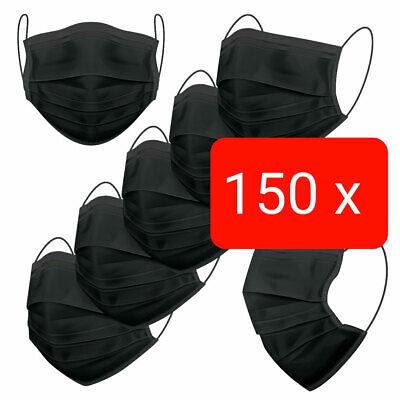 150 Stück Schutz-Masken Mundschutz-Masken 4 Lagig Einwegmaske OP-Maske Schwarz