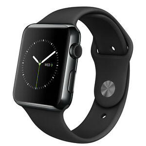Apple Watch 42mm Stainless Steel Case Black Sport Band  MLC82ZPA - <span itemprop='availableAtOrFrom'>Balcombe, West Sussex, United Kingdom</span> - Apple Watch 42mm Stainless Steel Case Black Sport Band  MLC82ZPA - Balcombe, West Sussex, United Kingdom