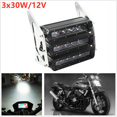 1pc 3x30W LED ATV Motorcycle Modified White Head Fog Light Black CNC Bracket Kit