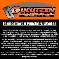 NOW HIRING!  Form Setters, Finishers & Labourers