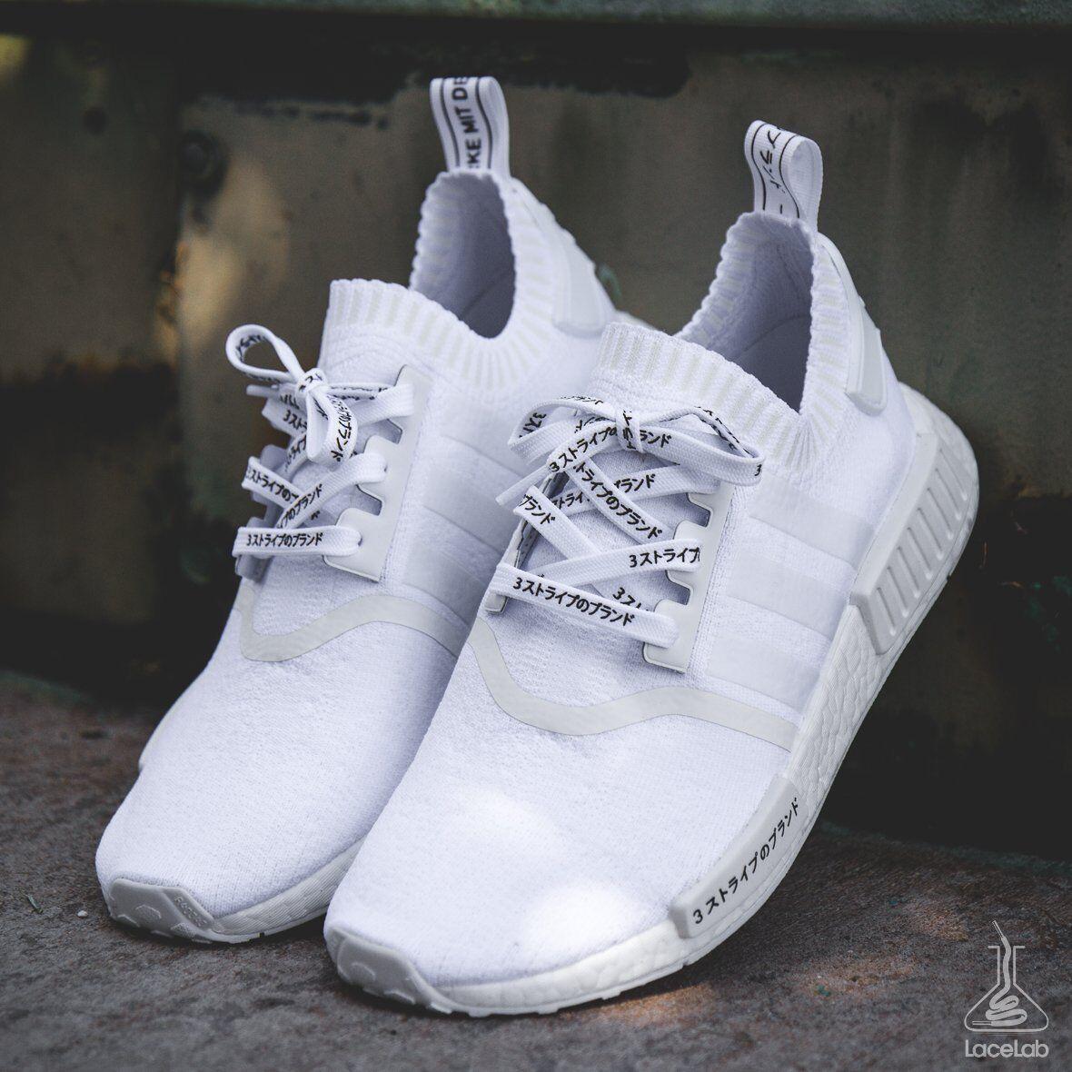 "NMD Shoelaces Ultra Boost Laces ""3 Stripes"" Katakana Flat White 41″ LACE ENVY Clothing & Shoe Care"