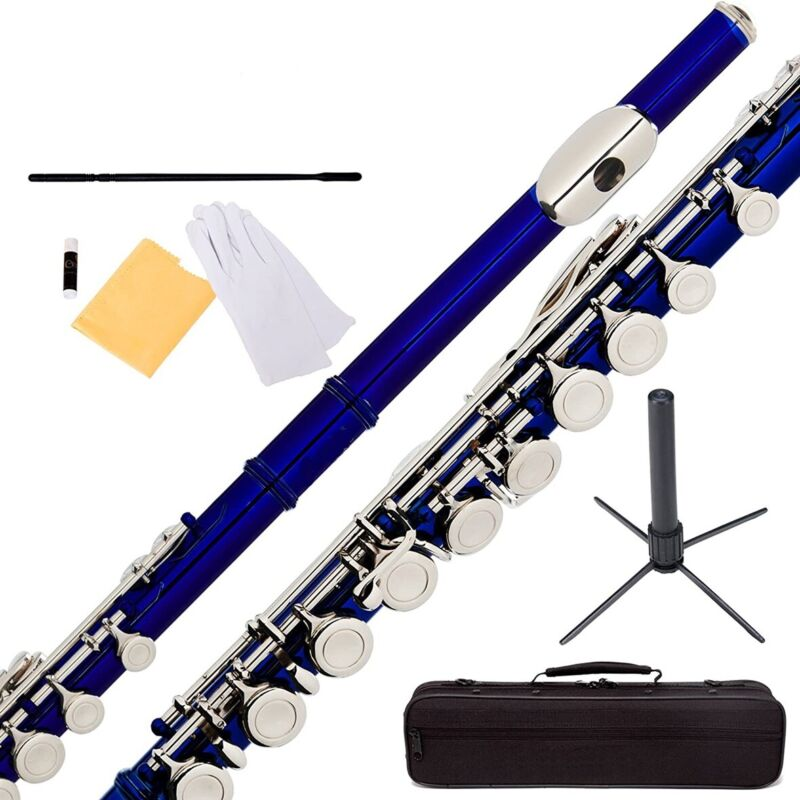 Glarry Blue 16 Hole C Practice Flute for Student Beginner School Band w/ Case
