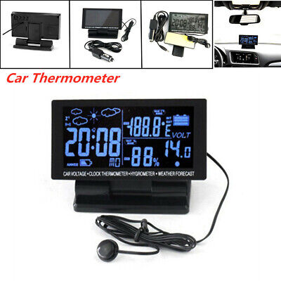 LCD Digital Car Clock Weather Station Temperature Thermometer Hygrometer -