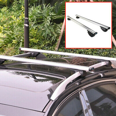 Universal Car SUV Roof Rail Luggage Rack Baggage Carrier Cross Aluminum  2×Siver