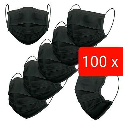 100 Stück Schutz-Masken Mundschutz-Masken 3 Lagig Einwegmaske OP-Maske Schwarz