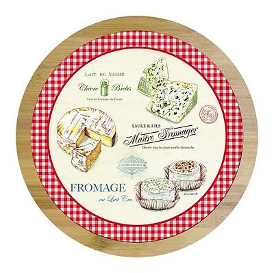 EasyLife Bamboo Wood & Glass Lazy Susan Turntable With Cheese Cutter - Bamboo Lazy Susan