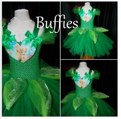 Tinkerbell costume handmade (Inspired) Fairy Tutu Dress 2-10 Girls Fancy dress  (Costume Tinkerbell)