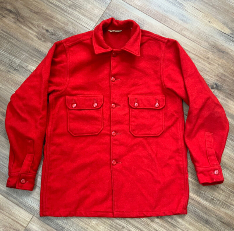 VINTAGE MEN'S RED BOY SCOUTS OF AMERICA OFFICIAL JACKET BUTTON UP COLLARED 42