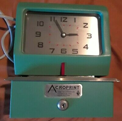 Vintage Acroprint Time Recorder Auto Punch Clock 1250r4 1 Key Nice Works