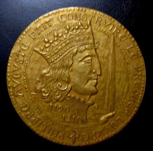 Philippe Augusta Fait Construire Le Premier / Large Bronze Medal / 82 mm / N129