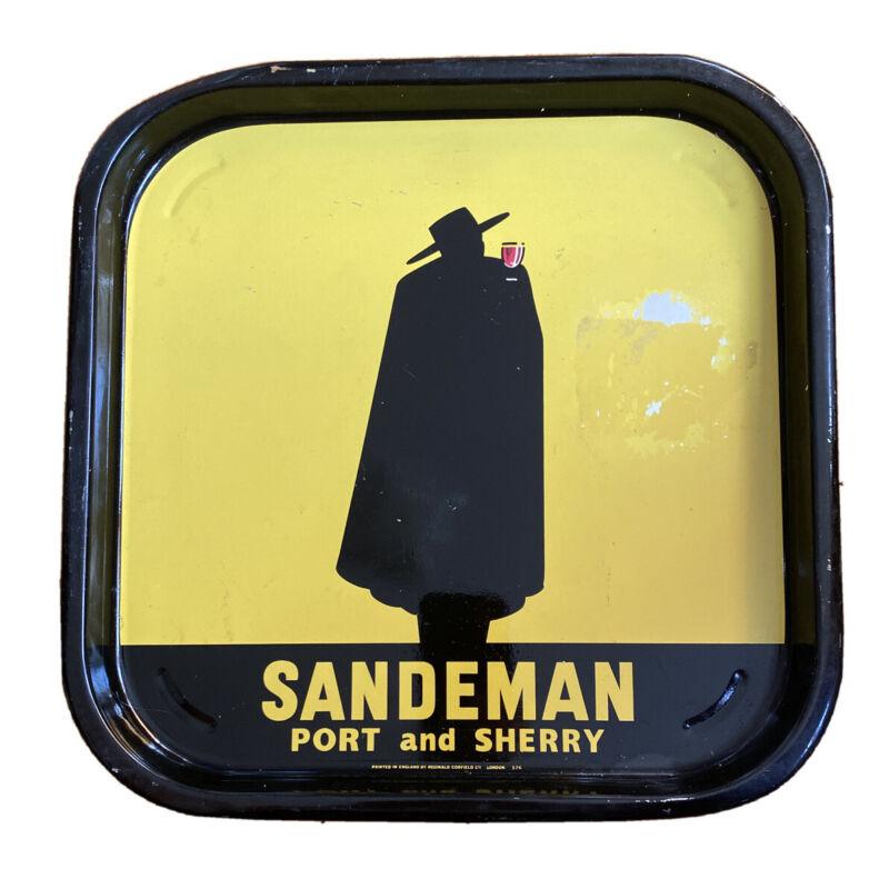 Vintage Rare 1960's Original SANDEMAN PORT London Metal Serving Tray !!