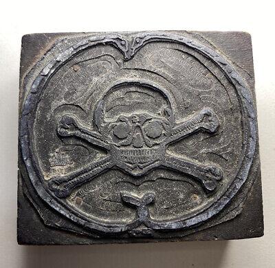 Vintage Old Skull Cross Bones Printing Press Wood Block Metal Ink Stamp Wow