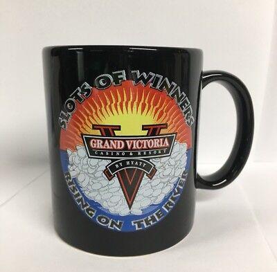 Grand Victoria by Hyatt vintage Old BLACK COFFEE MUG Casino and Resort Indiana