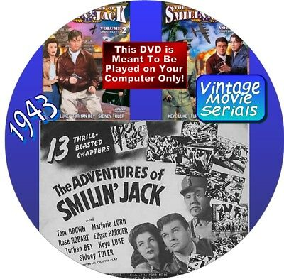 THE ADVENTURES OF SMILIN' JACK-13 VINTAGE MOVIE SERIALS - ON DVD-PLAY ON COMP