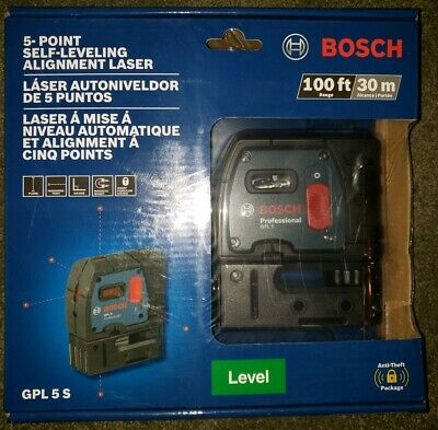 Bosch GPL 5 S Self Leveling 5-Point Plumb and Square Point Laser NEW Sealed