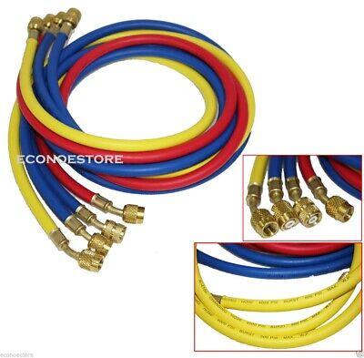 4 Ac Refrigerant Charging Hoses R410a R134a 4x 60 5ft Hvac 14 Sae 800psi Hose