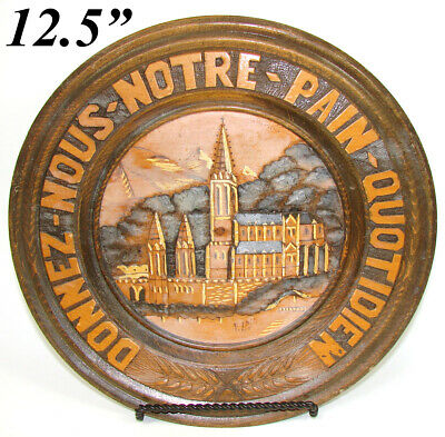 Antique Hand Carved Black Forest Bread Board, Platter, Castle or Cathedral Paint