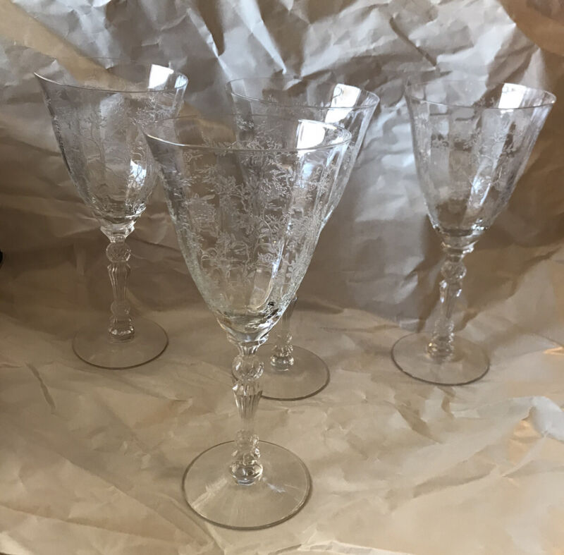 """Set of 4 Fostoria Chintz Etched Crystal Glass 7 3/4"""" WATER Goblets"""