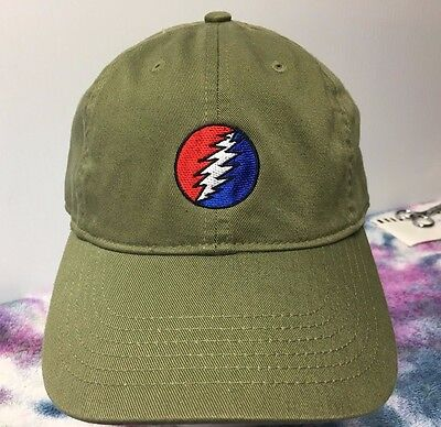 Grateful Dead Steal Your Face Low Profile Organic Cotton Ball Cap Olive Blk Navy