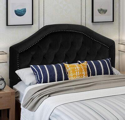 Velvet Headboard Queen Black Fabric Upholstered Adjustable Height Studded Seam ()
