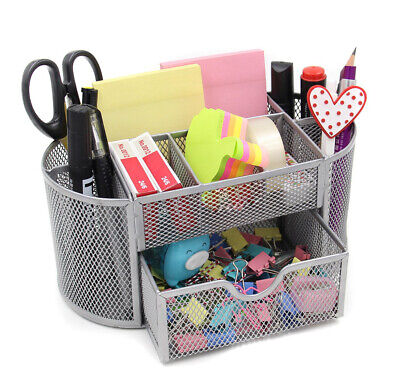 Pro Space Multifunction Mesh Office Desk Organizer 9 Components Silver