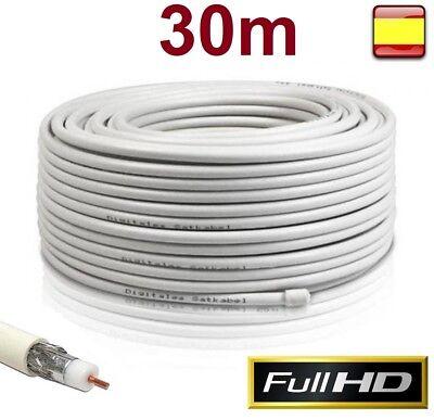 Bobina Cable Coaxial para antena Tv 30 metros alta calidad RG6U 75...