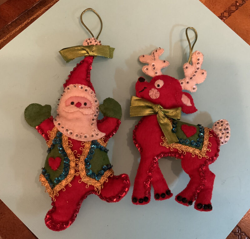 Vintage BUCILLA Felt Sequin Handmade Ornaments ~ SET OF TWO SANTA & DEER