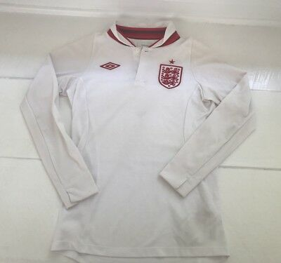 820944c0a Umbro WHITE   RED England Goalie Goalkeeper Soccer Polo Shirt Jersey Youth M