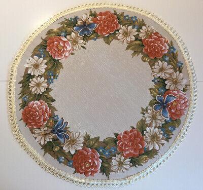 Tischläufer Tischdecke 46x46cm GOBELIN  Gobelindecke Natur Bayerische Rosen