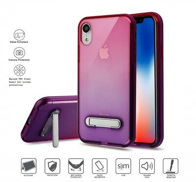 Apple iPhone XR Slim Hybrid Clear Pink Purple Phone Case With Kick Stand Cover