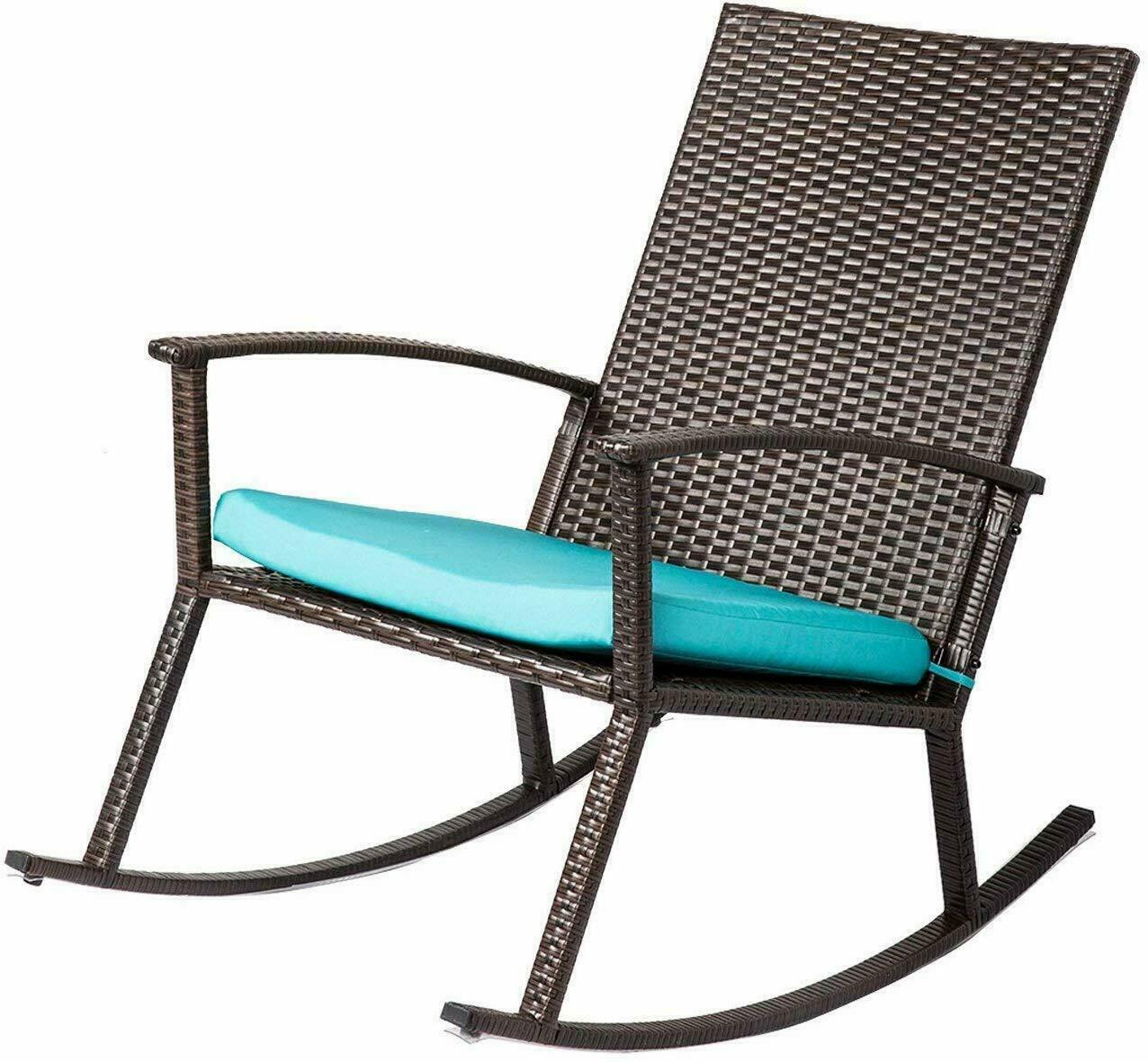 Patio Rattan Rocking Chair Rocker Armchair W/ Cushion Outdoo