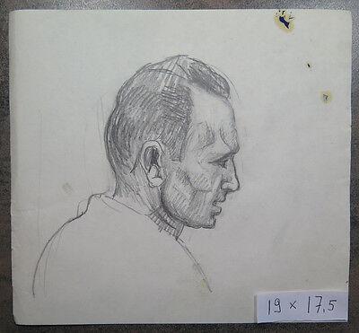 Zeichnung Studio (Zeichnung Antike Studio Katalog für Porträt Herren Gesicht Jahre Vierzig P28)