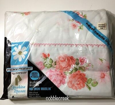 Vtg Full Flat Sheet NIP Cottage Roses Pink Embroidered Penn-Prest No-Iron