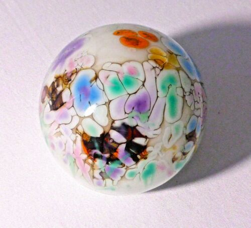SIGNED SHARI BRUSH MULTI-COLOR ART GLASS PAPERWEIGHT