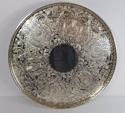 VINTAGE ROUND ACANTHUS CHASED SILVER PLATED GALLERY DRINKS COCKTAIL SERVING TRAY